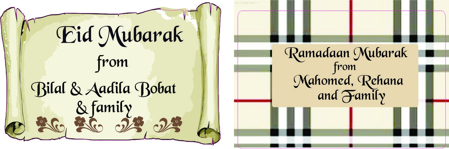 Eid and ramadan labels printed on white vinyl 50mm x 40mm set of 50