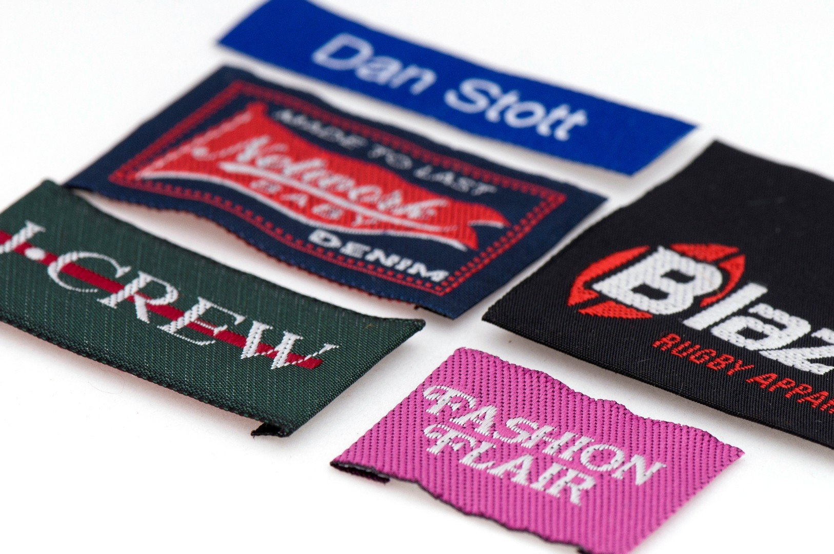 Woven name labels sew on 60mm x 10mm minimum order 1 000 units
